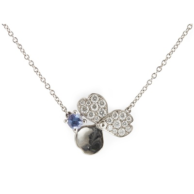 Lot 55 - A diamond and Tanzanite set 'paper flowers' pendant, Tiffany & Co.