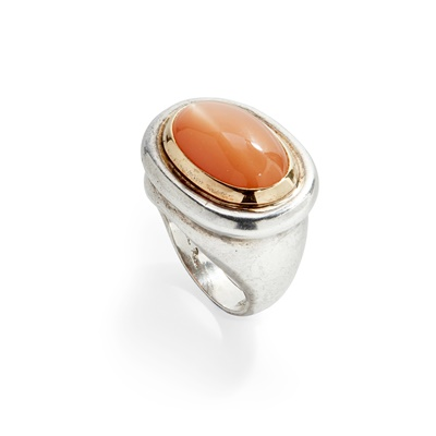 Lot 44 - A moonstone set cocktail ring and a pair of earrings, Paloma Picasso for Tiffany