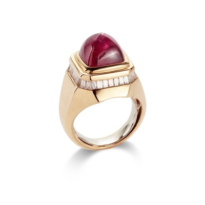 Lot 66 - A ruby and diamond ring, by Adler
