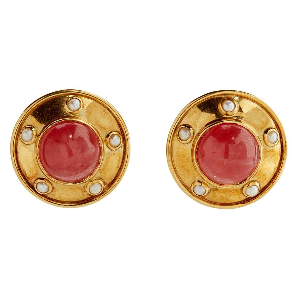 Lot 28 - A pair of 18ct gold multi-gem set clip earrings