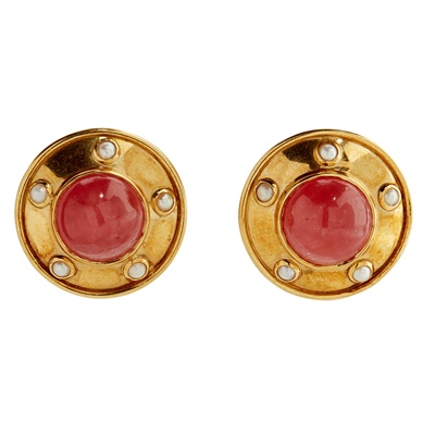 Lot 28 - A pair of 18ct gold multi-gem set clip earrings