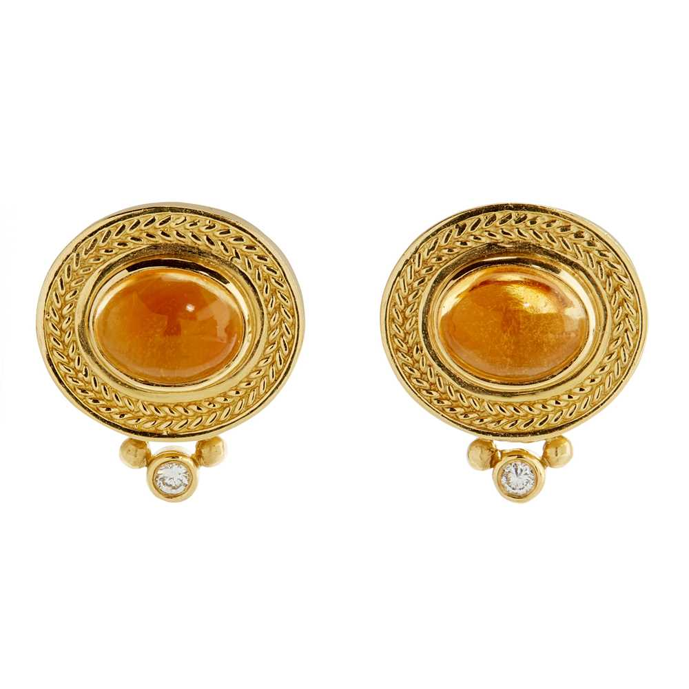 Lot 48 - A pair of citrine and diamond earrings