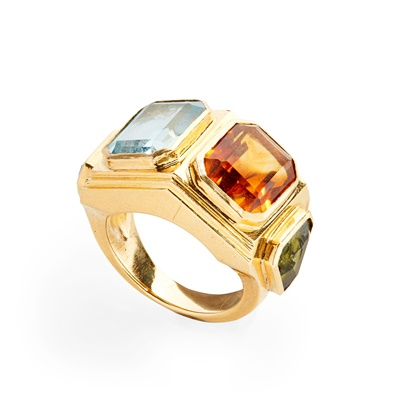 Lot 27 - A multi-gem set ring, Badou