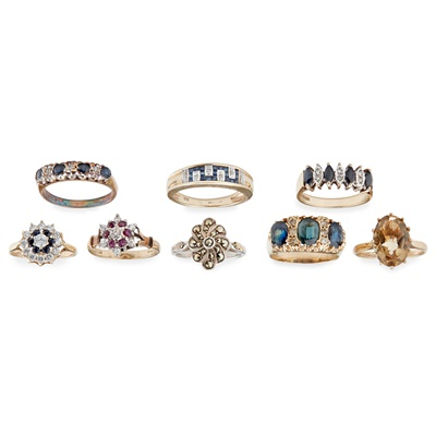 Lot 138 - A collection of gem set rings