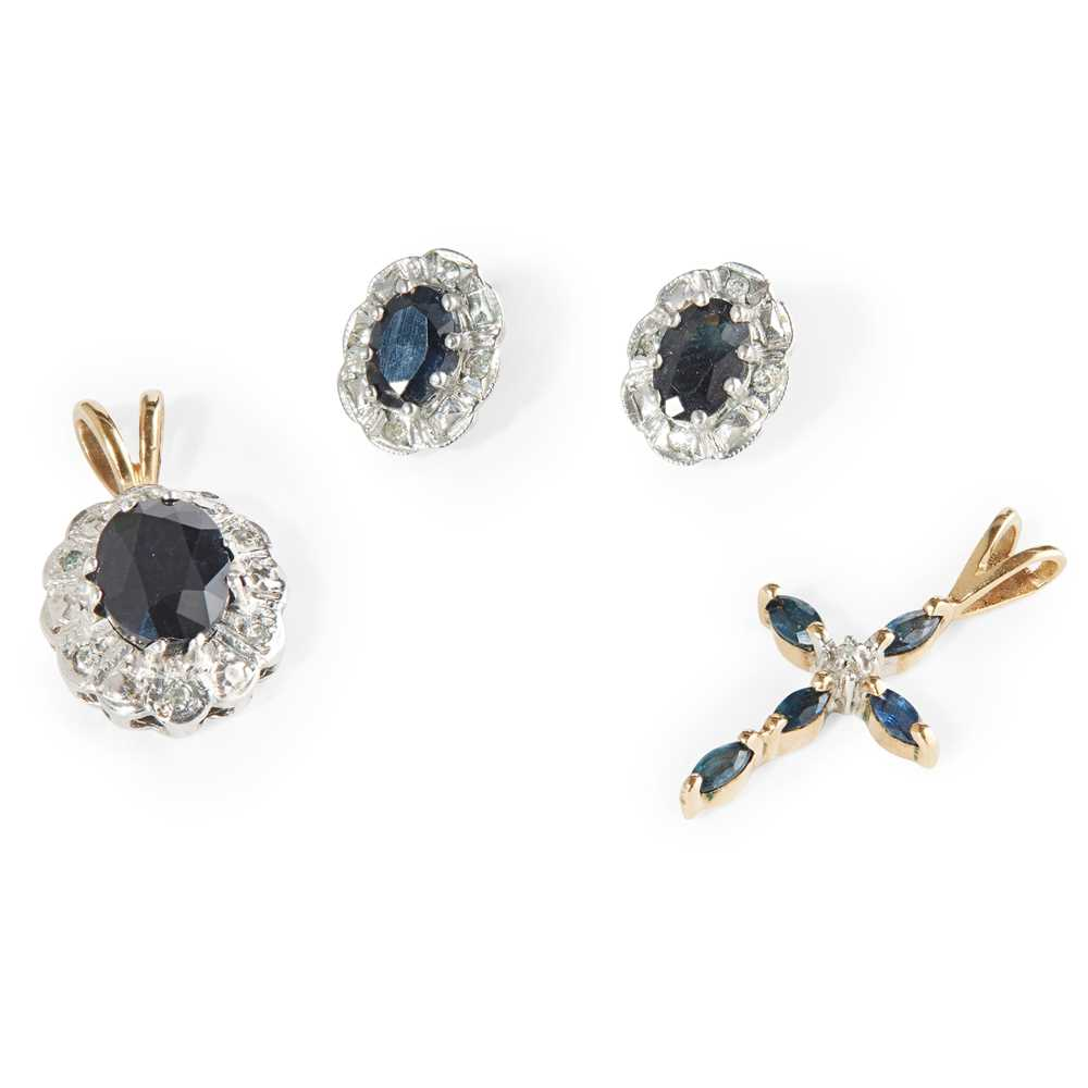 Lot 82 - A collection of sapphire and diamond jewellery