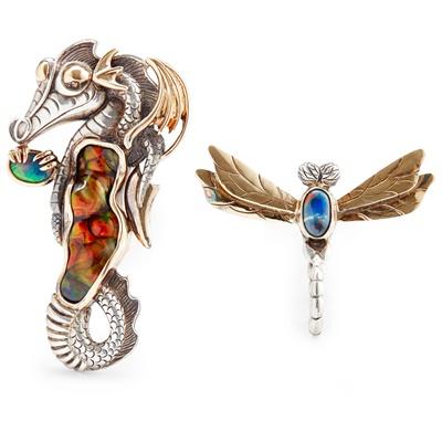 Lot 43 - A multi-gem set seahorse pendant