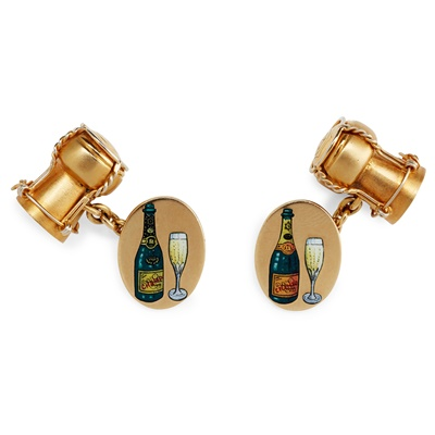 Lot 33 - A pair of 18ct gold and enamel 'Veuve Clicquot' cufflinks