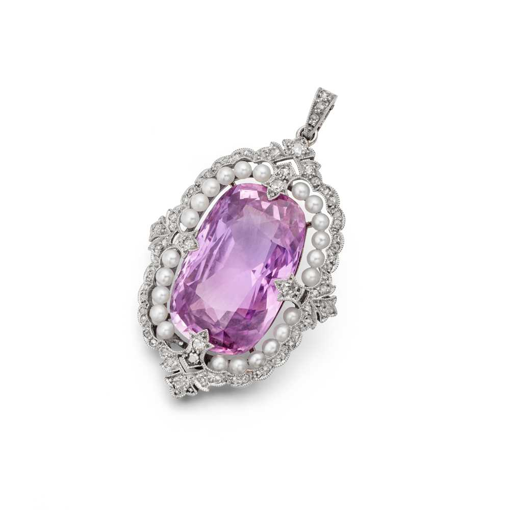 Lot 126 - An American Art Deco pink sapphire, seed pearl and diamond pendant, 1920s