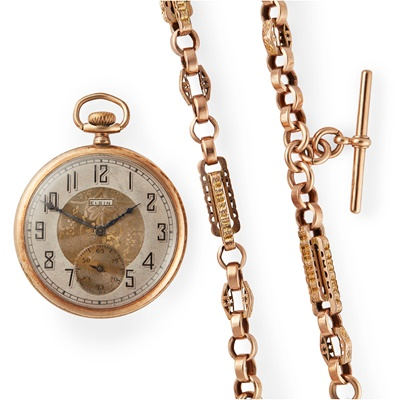 Lot 190 - Elgin: a gold plated pocket watch and chain