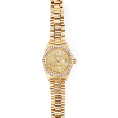 Lot 184 - Rolex: a lady's 18ct gold wrist watch