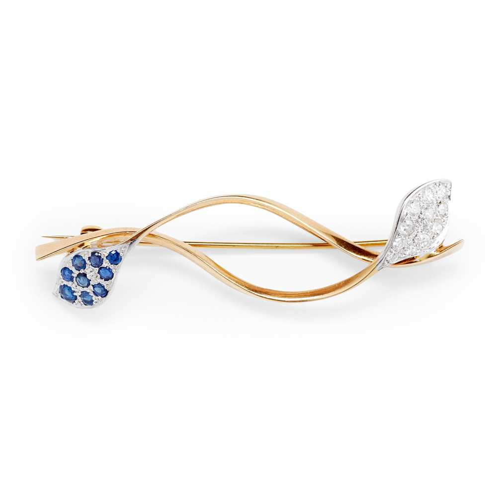 Lot 78 - An 18ct gold sapphire and diamond brooch, Eric N Smith