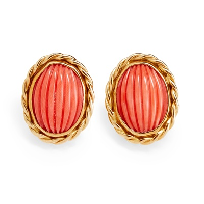 Lot 31 - A pair of 18ct gold coral earrings, Eric N Smith