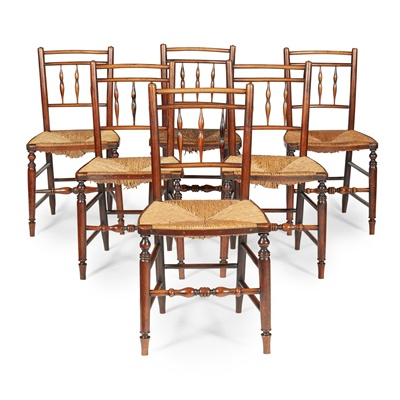 Lot 76 - SET OF SIX ASH RUSH SEATED CHAIRS