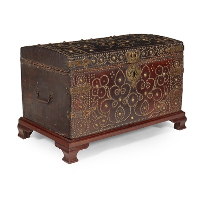 Lot 37 - WILLIAM AND MARY BRASS STUDDED LEATHER CHEST, ATTRIBUTED TO THE WORKSHOP OF RICHARD PIGG JUNIOR