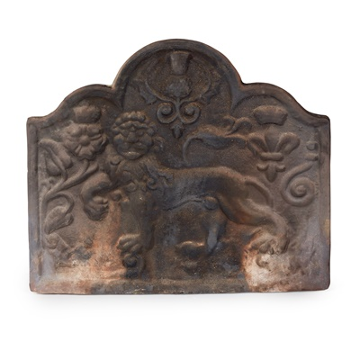 Lot 83 - CAST IRON FIRE BACK, GRATE AND ANDIRONS