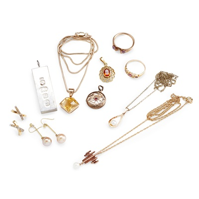 Lot 143 - A collection of gold and gem-set jewellery