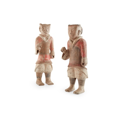 Lot 88 - NEAR PAIR OF PAINTED POTTERY FIGURES