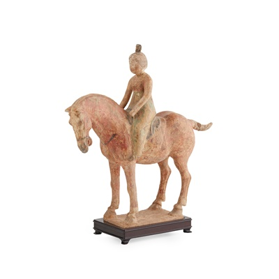 Lot 89 - PAINTED POTTERY HORSE AND RIDER