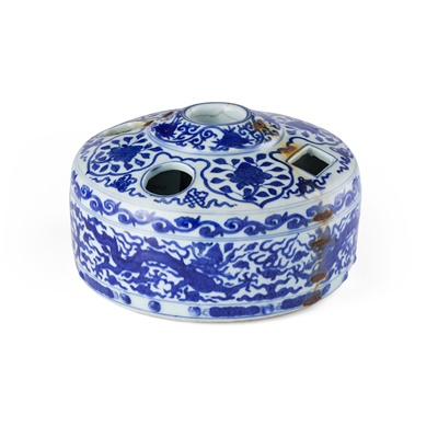 Lot 145 - BLUE AND WHITE BRUSH AND INK-STICK STAND