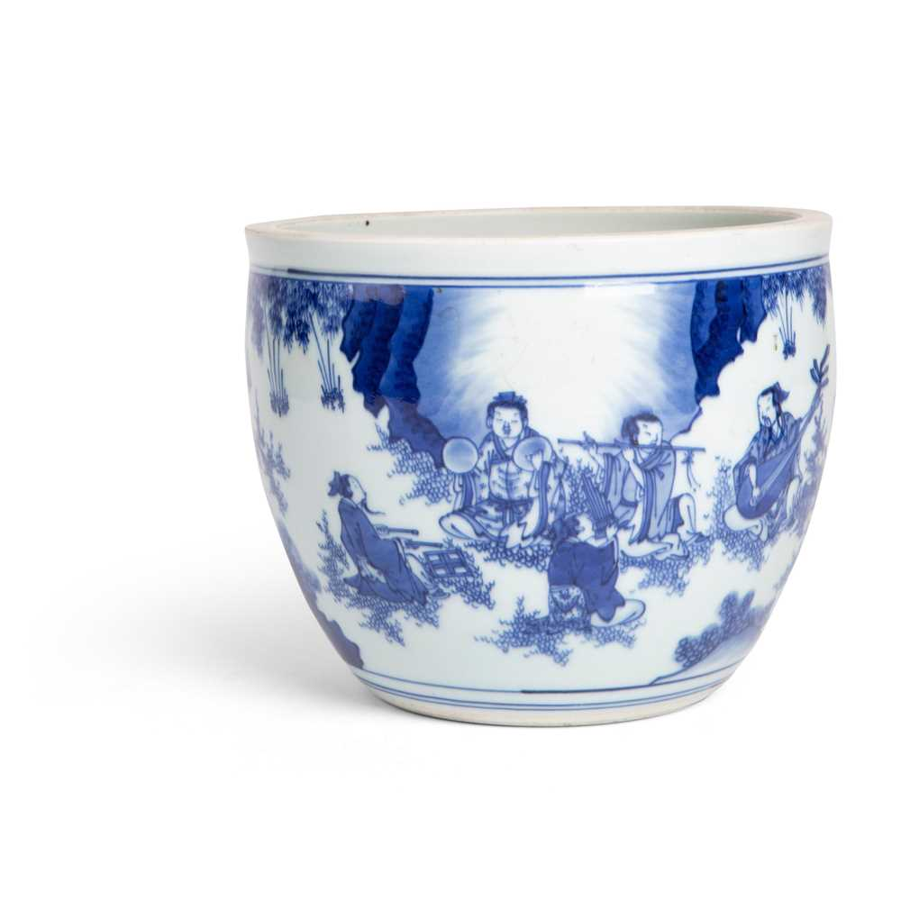 Lot 40 - BLUE AND WHITE 'SEVEN SAGES OF THE BAMBOO GROVE' BASIN