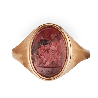 Lot 118 - A late 18th century mounted antique carved hardstone intaglio ring