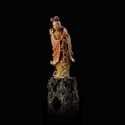 Lot 71 - SOAPSTONE CARVING OF GUANYIN