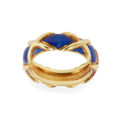 Lot 47 - A blue enamelled ring, Tiffany & Co