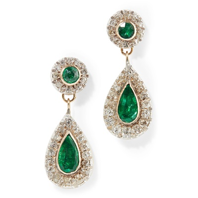 Lot 69 - A pair of emerald and diamond set pendant earrings