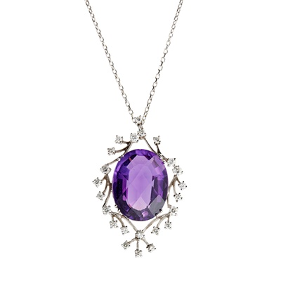 Lot 57 - An amethyst and diamond set pendant