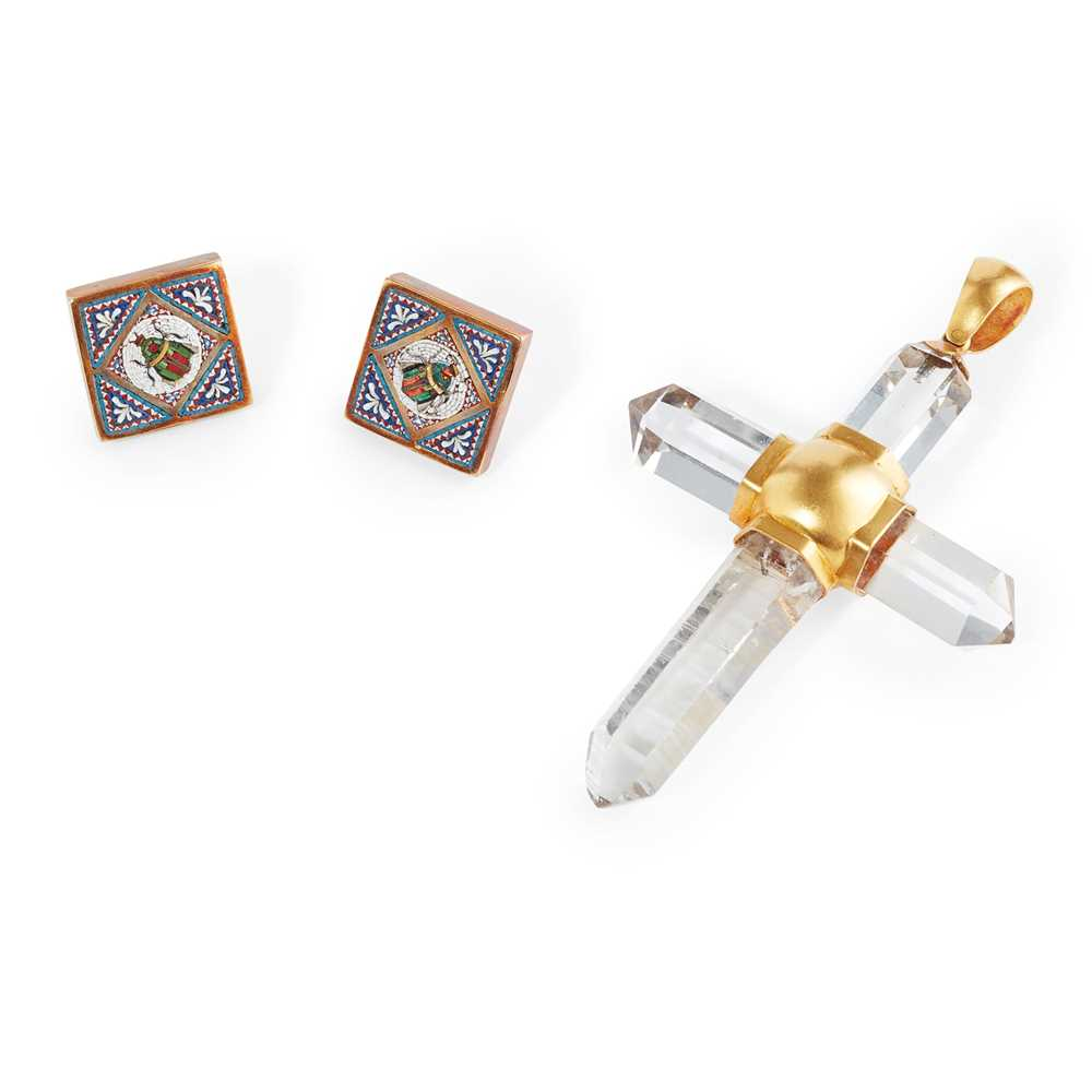 Lot 24 - A pair of micro-mosaic studs
