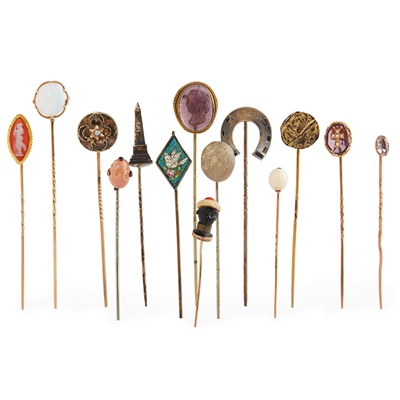Lot 137 - A collection of gem set tie-pins