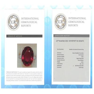 Lot 15 - A Rubellite tourmaline and diamond set ring