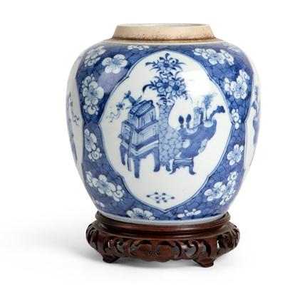 Lot 41 - BLUE AND WHITE 'BOGU' GINGER JAR