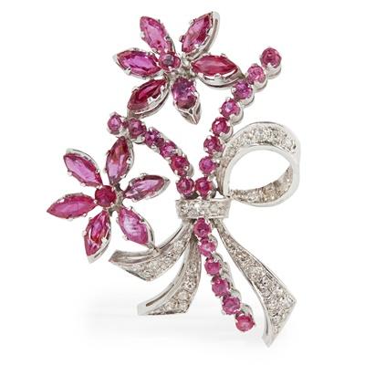 Lot 9 - A Burmese ruby and diamond set brooch