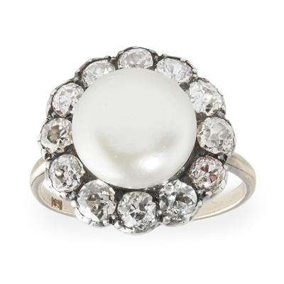 Lot 37 - A natural pearl and diamond set cluster ring
