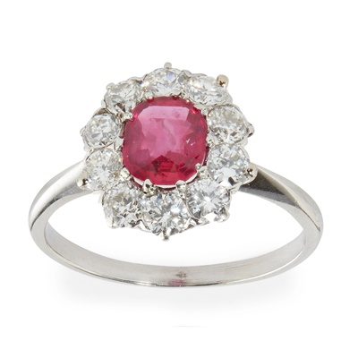 Lot 11 - A Burmese ruby and diamond cluster ring