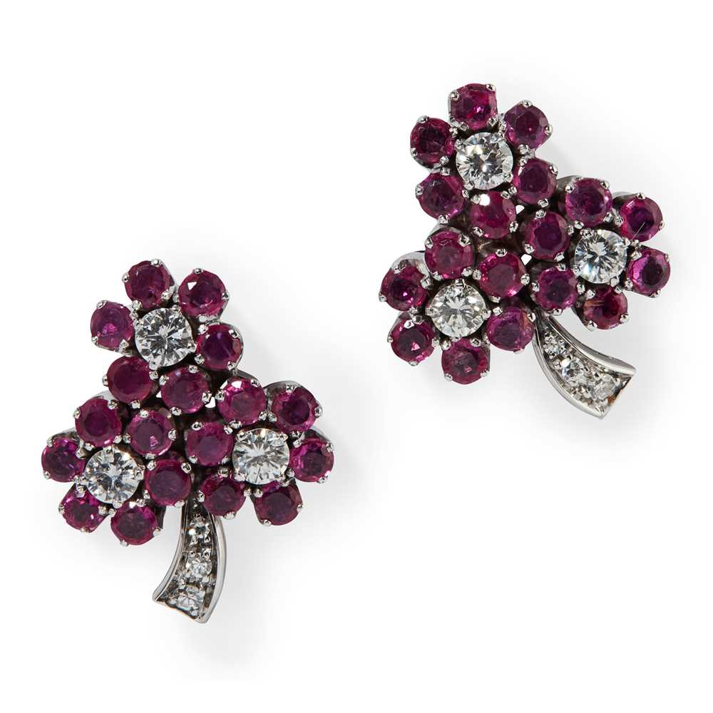 Lot 10 - A pair of Burmese ruby and diamond cluster earrings