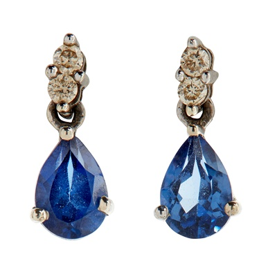 Lot 83 - A pair of sapphire and diamond set pendant earrings