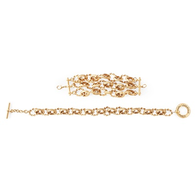 Lot 162 - A gold-tone necklace and matching bracelet, Karl Lagerfeld