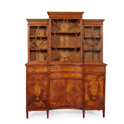 Lot 108 - LATE GEORGE III IRISH SATINWOOD AND INLAID BREAKFRONT DISPLAY CABINET, IN THE MANNER OF WILLIAM MOORE OF DUBLIN