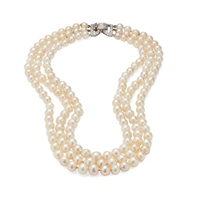 Lot 54 - A three strand cultured pearl necklace