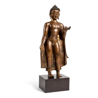 Lot 78 - GILT BRONZE STANDING FIGURE OF BUDDHA SHAKYAMUNI