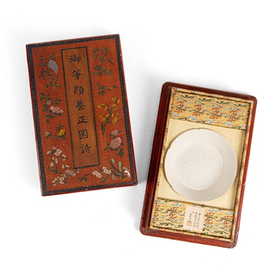 Lot 173 - DING-TYPE 'DAYLILY' PLATE WITH A LACQUER BOX
