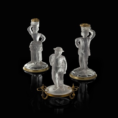 Lot 22 - THREE MOULDED AND FROSTED GLASS FIGURES BY JOHN FORD, HOLYROOD GLASS WORKS