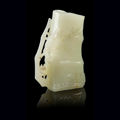 Lot 22 - WHITE JADE 'BAMBOO' VASE