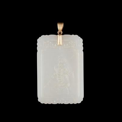 Lot 65 - WHITE JADE PLAQUE
