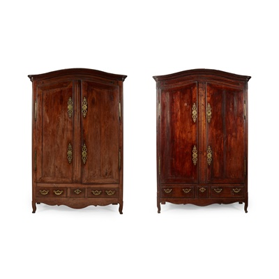 Lot 157 - NEAR PAIR OF FRENCH PROVINCIAL CHESTNUT ARMOIRES