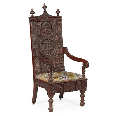 Lot 137 - CEREMONIAL CARVED OAK ARMORIAL ARMCHAIR