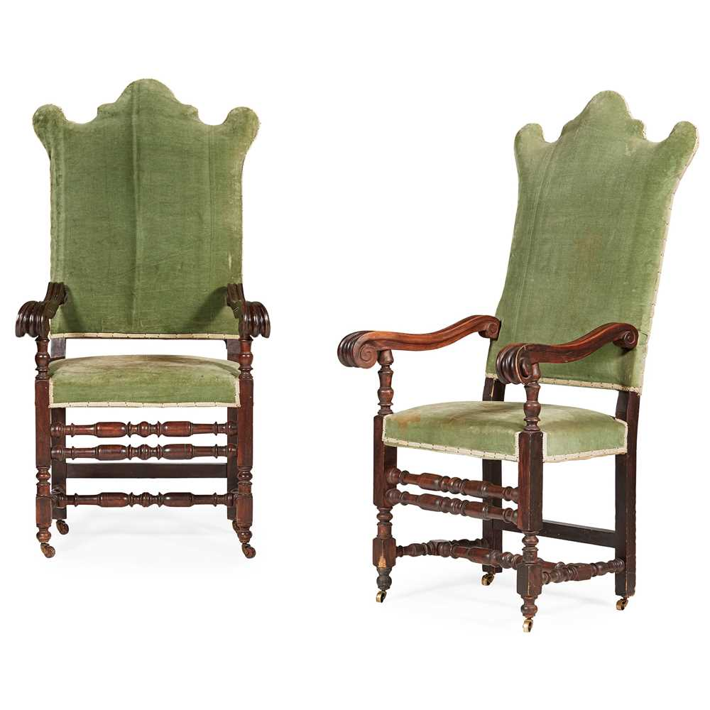 Lot 138 - PAIR OF WILLIAM AND MARY STYLE WALNUT ARMCHAIRS