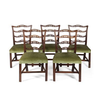 Lot 105 - SET OF FIVE GEORGE III MAHOGANY DINING CHAIRS